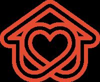 莫比乌斯带风格的心和房子标志