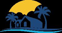 阳光海滩椰树和房子的标志