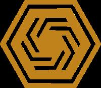 内部螺旋形状的正六边形标志