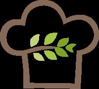 有绿色叶子的厨师帽标志