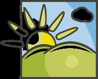 画框中的太阳云朵标志