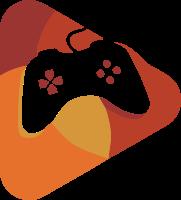 圆角三角形为背景的游戏手柄标志