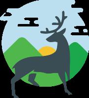 野外玩耍的鹿标志