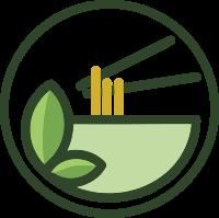 绿色面条设计的餐饮标志